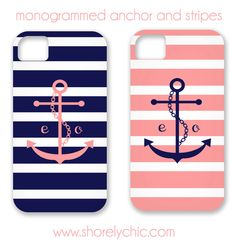 Monogrammed Anchor & Stripes iPhone Cover. $44.00, via Etsy. - I so love this!!  Maybe someday... Just can't justify spending $44 on a phone cover