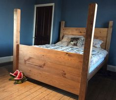 Handmade chunky midi half four poster rustic solid wood redwood pine panel plank oak finish single double super king size bed frame Super King Bed Frame, Super King Size Bed, King Size Bed Frame, Pine Beds, Oak Beds, Four Poster Bed Frame, Pine Bed Frame, Thin Plywood, Bed Frame Design