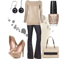 gold sweater - usually do with my knee high boots, like the nude heels.