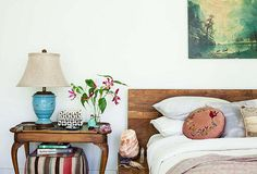 Blogger Shiva Rose keeps her bedroom at   peak peacefulness with a serene   palette, a purifying salt lamp,   and a strict no-electronics policy.