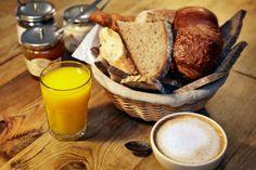 bread basket. juices. latte. food