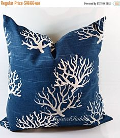 On Sale Navy Blue Pillow.20x20.Pillows.coral pillows. blue and White.Cushion.Covers.cm.Pillow Case
