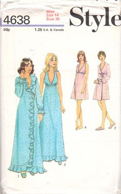 Style 46381980s Misses V Neck Empire Halter Nightgown and Peignoir womens vintage sewing pattern by mbchills