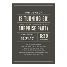 Surprise 60th Birthday Invitations Maybe On Craft Paper With Navy Blue Text 50th
