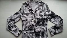 Black and White Vintage Comic Jacket 90s / Vintage Pop Art Jacket 90s / Vintage Retro Women Jacket / Vintage Comic Woman Blazer 90s