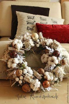 Рождественский венок из хлопка - бежевый,новый год 2014,рождество,венок на дверь