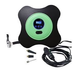 """""""Features & Benefits"""" Auto Digital Tire Inflator Compressor,U&M Multi-purpose Car Portable Air 12v DC 40 PSI Pump for Vehicle, Truck, Bicycle, RV ,Basketball (Green)"""