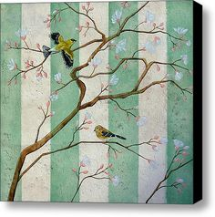 Golden Birdsong Stretched Canvas Print / Canvas Art By Jennie Marie