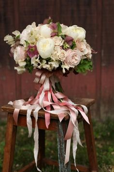 Oversized Lush Wedding Bouquet Which Includes Some Of The Following: White Peonies, White Sweet Peas, White Spray Roses, Blush Garden Roses, Sangria Hellebores, Green Foliage Hand Tied With Ivory, Pink & Blush Ribbons ••••