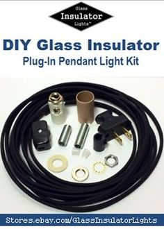 Insulator Swag Light Kit - Plug-In Pendant Lights Part Kit  DIY Glass insulator