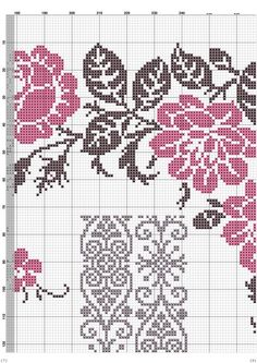 This Pin was discovered by Eli Cross Stitch Rose, Cross Stitch Borders, Cross Stitch Flowers, Counted Cross Stitch Patterns, Cross Stitching, Cross Stitch Embroidery, Embroidery Patterns, Graph Design, Shawl Patterns