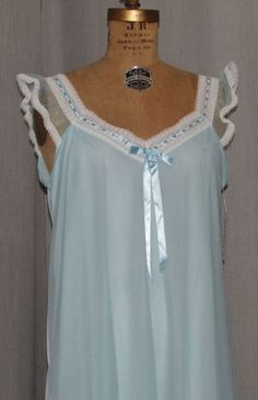 Vintage 1960s Nightgown Babydoll Pale Blue Nylon Lace Neckline VENUSFORM Teddy M #Venusform