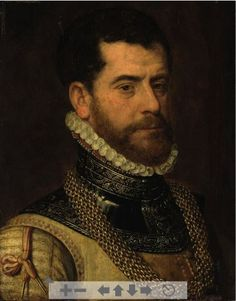 Pourbus, Francis (attributed to) - Portrait of a gentleman, bust-length, in armor - 1570 - detail of collar