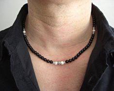 Disco ethno collar plateado cuero negro hombre de cadena collar de estilo surfista