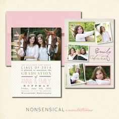 Emily & Anna Grad design   Nonsensical Invitations. Custom graduation announcement. Twins, pink, green, polka dots, floral, horses. Photo collage. Photos by Photography by Kristi Law. 5x7 double sided. www.nonsensicalinvites.com