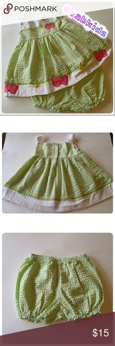 12 MONTH STRAWBERRY PATCH DRESS! Beautiful green and white dress with bloomers. Accented with stawberry embroidery. Thin and cool. Perfect for summer. Nwot! Dresses Casual