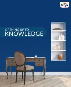 Looking for  wall painting ideas? Paint your study room using Classic Blue to boost productivity.