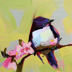 Purple Martin no. 10 bird and flower print by Angela Moulton 6 x 6 inch prattcreekart
