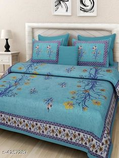 Bedsheets Eva Stylish Cotton Bedsheets  Fabric: Pure Cotton No. Of Pillow Covers: 2 Thread Count: 180 Multipack: Pack Of 1 Sizes:  Queen (Length Size: 100 in Width Size: 90 in Pillow Length Size: 27 in Pillow Width Size: 17 in)  Work : Printed Country of Origin: India Sizes Available: Queen *Proof of Safe Delivery! Click to know on Safety Standards of Delivery Partners- https://ltl.sh/y_nZrAV3  Catalog Rating: ★4 (14880)  Catalog Name: Eva Stylish Pure Cotton 100x90 Double Bedsheets Vol 1 CatalogID_609445 C53-SC1101 Code: 473-4257287-