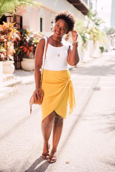 Outfit with Yellow wrap skirt |