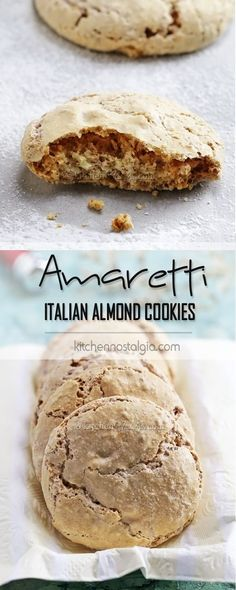 AMARETTI - Italian Almond Crinkle Cookies; easier, no-rolling-needed version of tradtional biscuits; crunchy on the outside, soft and chewy on the inside.