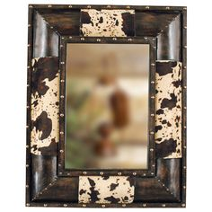 western cow hide bedding | cowhide western mirror description antiqued faux leather is accented ...