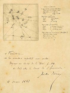 Jules Verne manuscript : The 'Celestial Chart' describes the Vault of Heaven in direction of the Pole star.