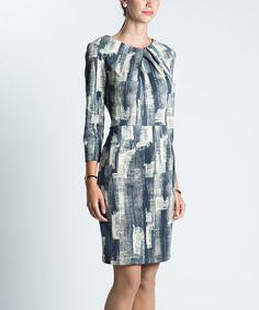 Another great find on #zulily! emploi New York Excavator Pleat-Neck Sheath Dress by emploi New York #zulilyfinds