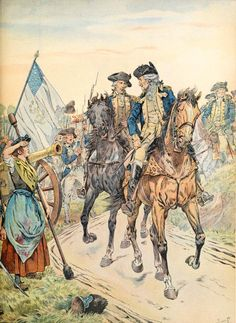 Molly Pitcher at the battle of Monmouth, 1778, by JOB.