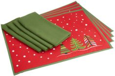 DII Winter Fun Linen Set, Includes 4 Whimsy Tree Placemats and 4 Christmas Tree Green Napkins 100% Cotton. Placemat measures 13 x 19. Napkin Measures 20 x 20. Placemat is hand wash cold, line dry, warm iron if needed.  #DII #Home