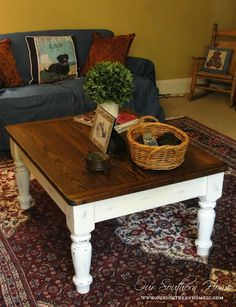 Farmhouse Coffee Table Makeover.  Do this to tables in lower level family room.
