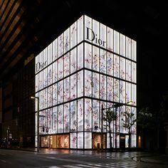 Tokyo: Dior store re Retail Facade, Shop Facade, White Building, Building Facade, Dior Store, Tokyo, Glass Store, Eco Buildings, Facade Lighting