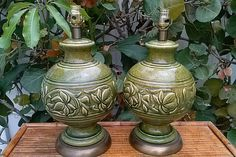 Pair of Vintage Glazed Italian Lamps by Floridamodern33405 on Etsy, $295.00