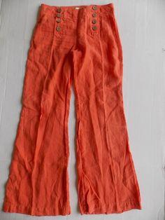 Anthropologie Elevenses Linen Sailor Wide Leg Pants Double Button Orange Size 4…