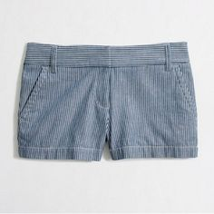 j. crew factory railroad-stripe short sold out, super cute, preppy shorts!! NWOT. i like them a lot, but they're too big on me. :-( J. Crew Shorts Jean Shorts