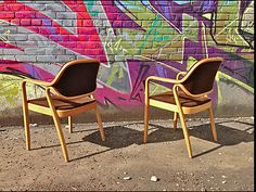 Pair Don Pettit Bentwood Arm Chairs for Knoll | eBay