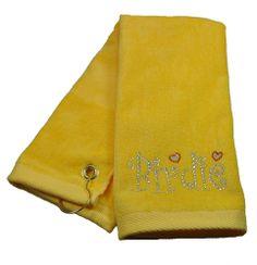 Crystal Birdie Yellow Terry Cloth Golf Towel by Navika.  Buy it @ ReadyGolf.com