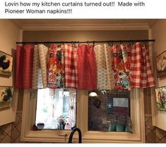 Pioneer woman tablecloth pioneer woman kitchen curtains using tablecloths kitchen together with surprising home decor ideas No Sew Curtains, Rod Pocket Curtains, Cafe Curtains, Cottage Curtains, Country Kitchen Curtains, Kitchen Valances, Vintage Kitchen Curtains, Kitchen Country, Farmhouse Curtains