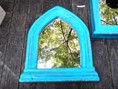Mirror, Goth Mirror, Arched Mirror, Gothic Frame, Boho Chic Mirror, Blue Mirror, Kulicke Cathedral, Church Window Mirror, Renaissance by CasaKarmaDecor, $42.95 USD