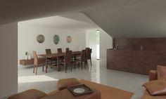 www.rddarchitecture.com  White interior Open plan Kitchen living room. Minimalist architecture in attic conversion