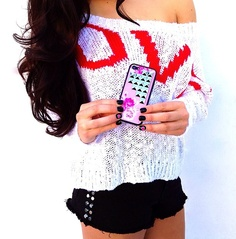 LOVE sweater from LF and high waisted studded shorts from Urban Outfitters! To top off the look get a Pink Floral pyramid Wildflower case!! xoxo