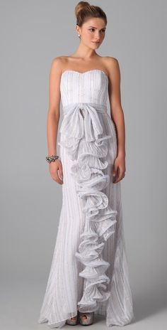 Badgley Mischka Couture Strapless Ruffle Front Gown thestylecure.com