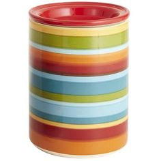 I was thinking of going with fun, primary colors for my kitchen....Pier1 Teal Stripe Canisters