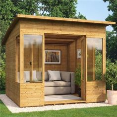 8 x 8 Verano Wooden Garden Summerhouse Sunroom With Tongue and Groove Cladding - Summer Houses - Garden Buildings Direct Backyard Office, Backyard Studio, Backyard Sheds, Backyard Patio, Shed Office, Outdoor Office, Garden Studio, Outdoor Sheds, Garden Office
