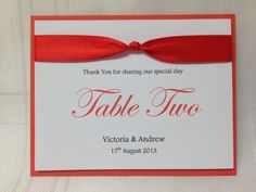 Personalised Tie The Knot Wedding Table Name/Numbers. £1.50 from www.facebook.com/TotallyBridal