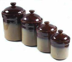 Sango Nova-Brown 4-Piece Canister Set (Box Set), Fine China Dinnerware by Sango. $49.99. Sango - Sango Nova-Brown 4-Piece Canister Set (Box Set) - Brown Edge,Tan Center,Smooth