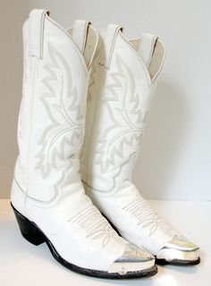 Vintage laredo fringe tassel white cowboy boots. women's size 9m ...
