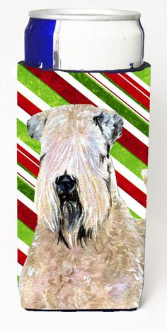 Wheaten Terrier Soft Coated Candy Cane Holiday Christmas Ultra Beverage Insulators for slim cans SS4562MUK