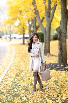 Fall fashion burberry trench stuart weitzman highland boots outfit