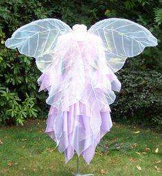 Huge White Gossamer Opalescent Veined Fairy Wings Faerie Costume adult xl Wedding goddess angel Cosplay larp